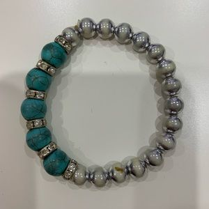 Silver and turquoise beaded bracelet